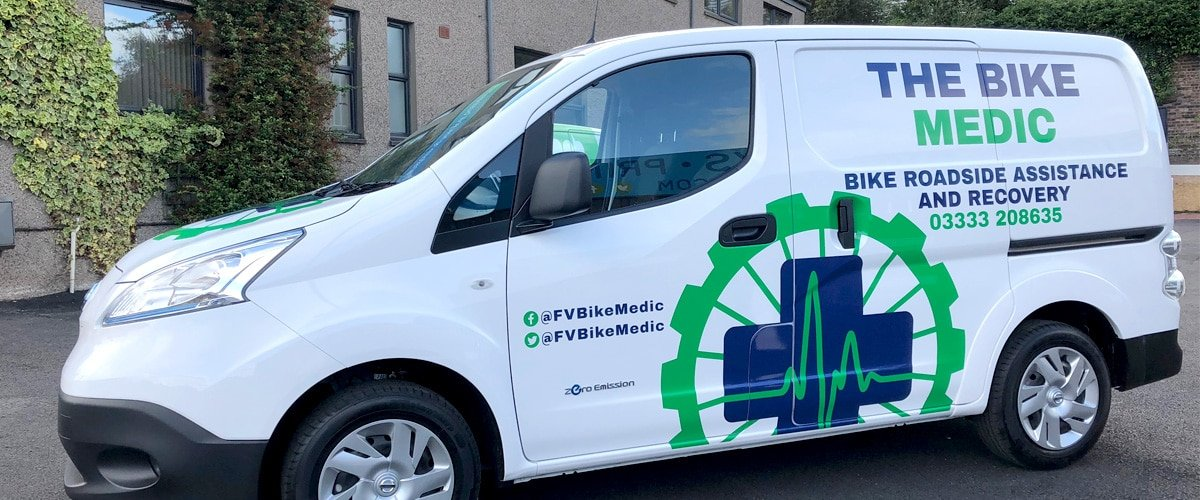 Arken Creative created vehicle livery artwork for The Bike Medic's new electric van supporting Forth Valley's key workers.